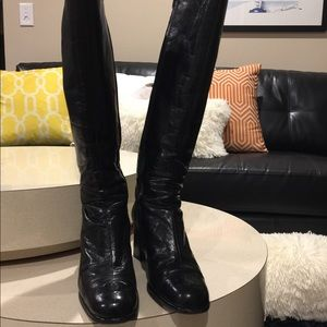 CHANEL  Leather Cap Toes CC Stitched Tall Boots